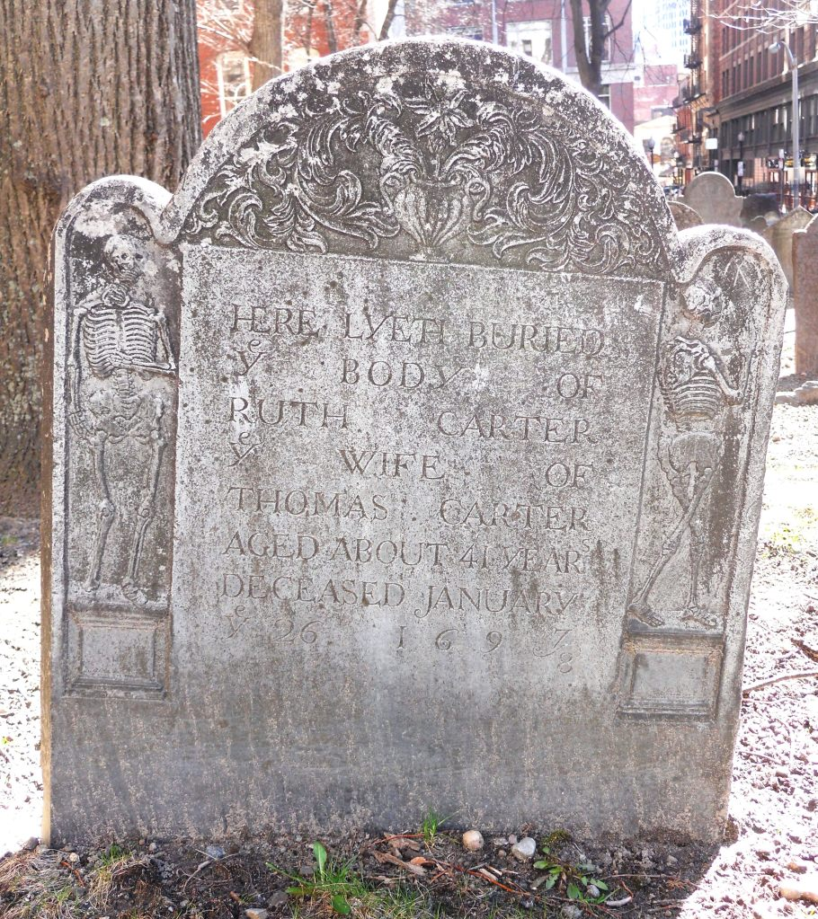 Grave marker of Ruth Carter, The Old Granary Burying Ground, Boston