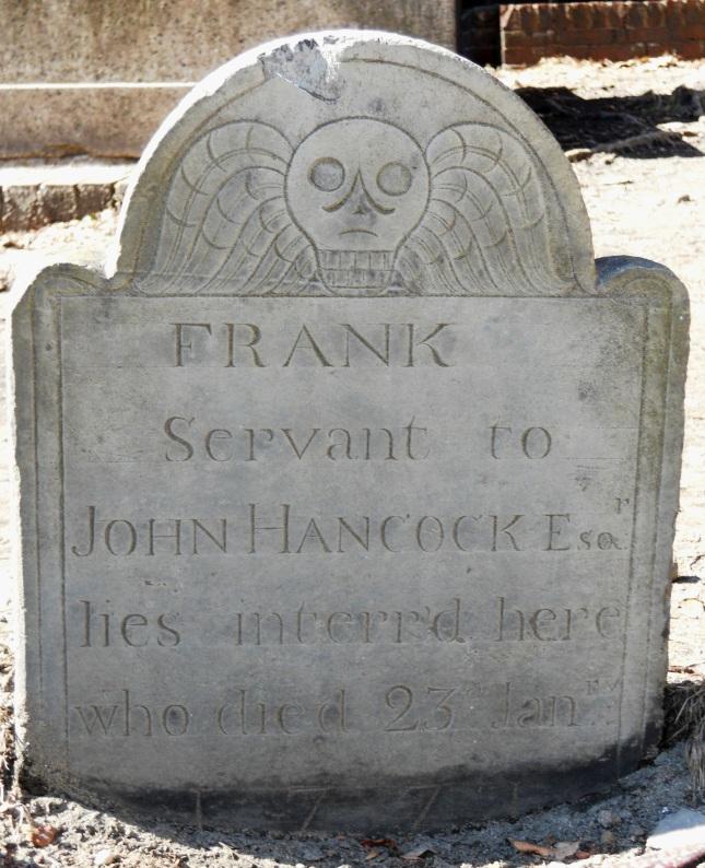 Gravestone of Frank, Servant of John Hancock